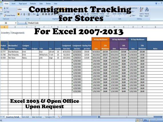 Consignment Tracking for Stores- Inventory Tracking, Consignment - inventory spreadsheet template