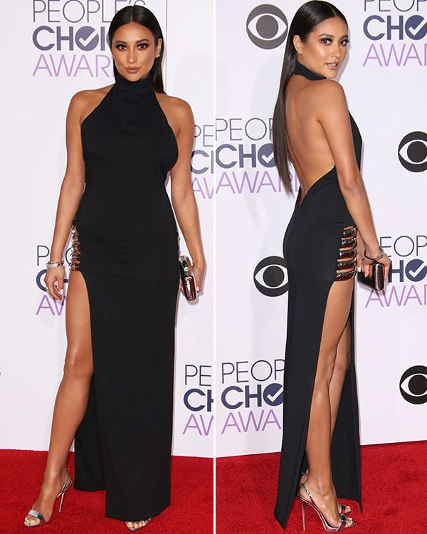 ecaadb0eb3 Shay Mitchell rocked a daring black gown on the People s Choice Awards red  carpet!