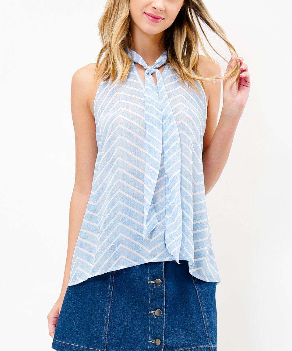 76bc7668cc2f2 Timing Blue Chevron Tie-Neck Sleeveless Top by Timing  zulilyfinds