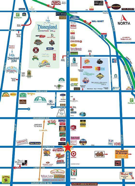 Map of area surrounding Disneyland | Disneyland in 2019 | Disneyland Downtown Disney Hotels Map on