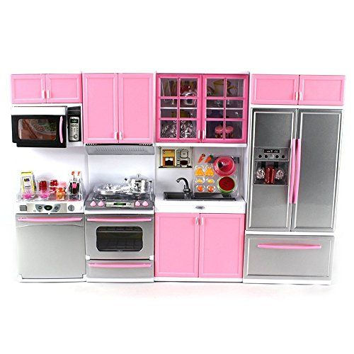 Toy Kitchen Sets Deluxe Modern Kitchen Battery Operated Toy Kitchen Playset Perfect For Use With 115 Tal Toy Kitchen Kitchen Sets For Kids Modern Kitchen Set