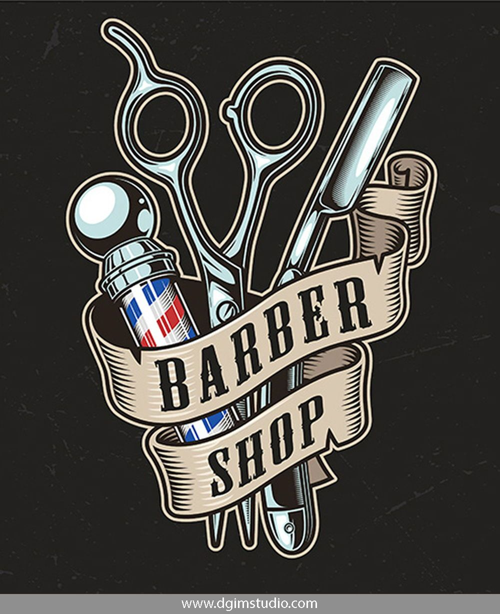 Old school style colorful Barber Shop emblem with scissors, a blade, a barber pole and ribbon around them. Editable text & high quality. CLICK ON THE LINK to find more colorful barbershop emblems!#vectorillustration #vector#illustration #design #dgimstudio #barber #barbershop#hairdresser #electric #hairclipper #skull#scissor #shavercrown #haircuts