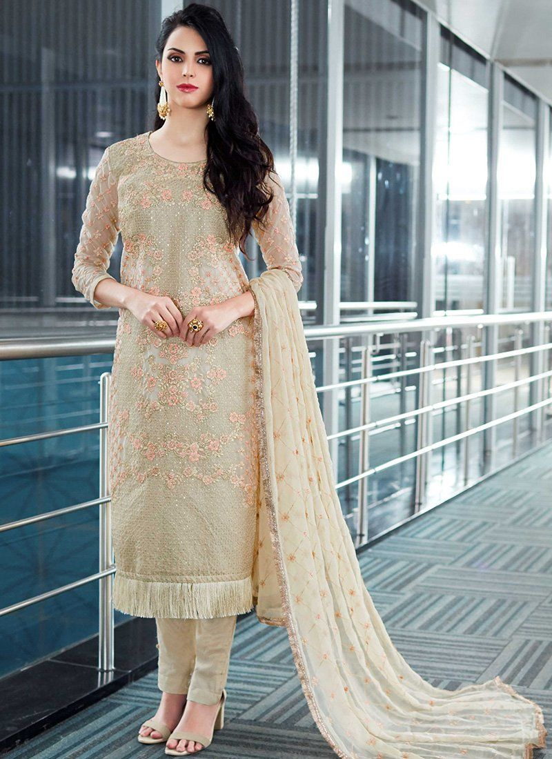 86f6ecfe75 Off White Embroidered Organza Straight Suit | awsome | Salwar suits ...