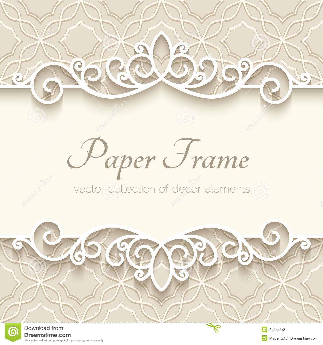 Photo About Vintage Background With Paper Border Decoration, Ornamental  Frame Template   49652272