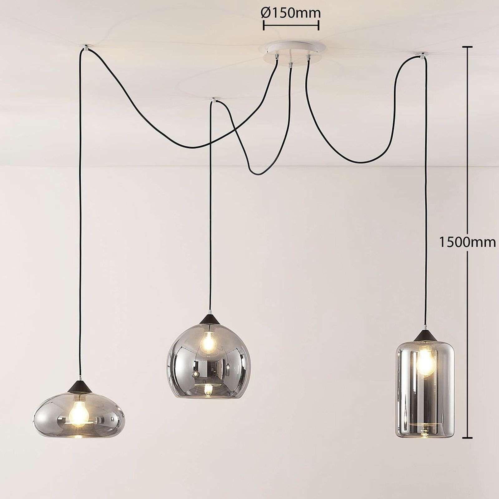 Hanglamp Raquel 3 Lamps Rookglazen Kappen Van Lampenwelt Com Hanglamp Lichtluifel Verlichting Woning