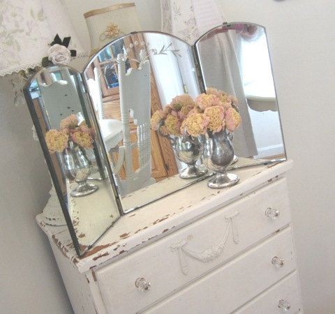 Shabby Chest Of Drawers With Trifold Vanity Table Mirror - Tri Fold Table  Mirror - Home - Antique Tri Fold Mirror Vanity Antique Furniture