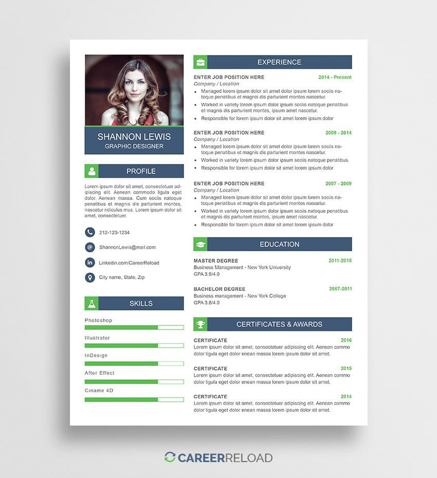 Free PSD Resume Template Download