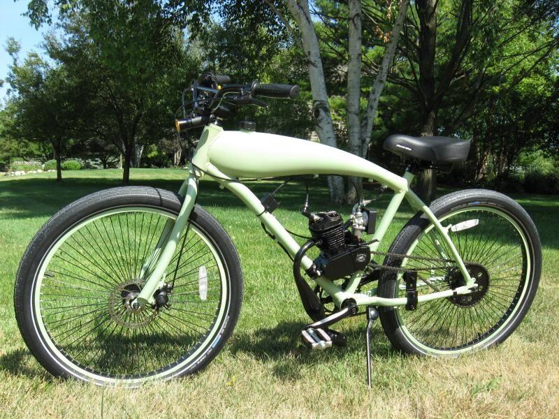 Beautiful Custom Motored Bicycles   Drop Loop Worksman Motorized Bicycle, Steel In Frame  Gas Tanks,