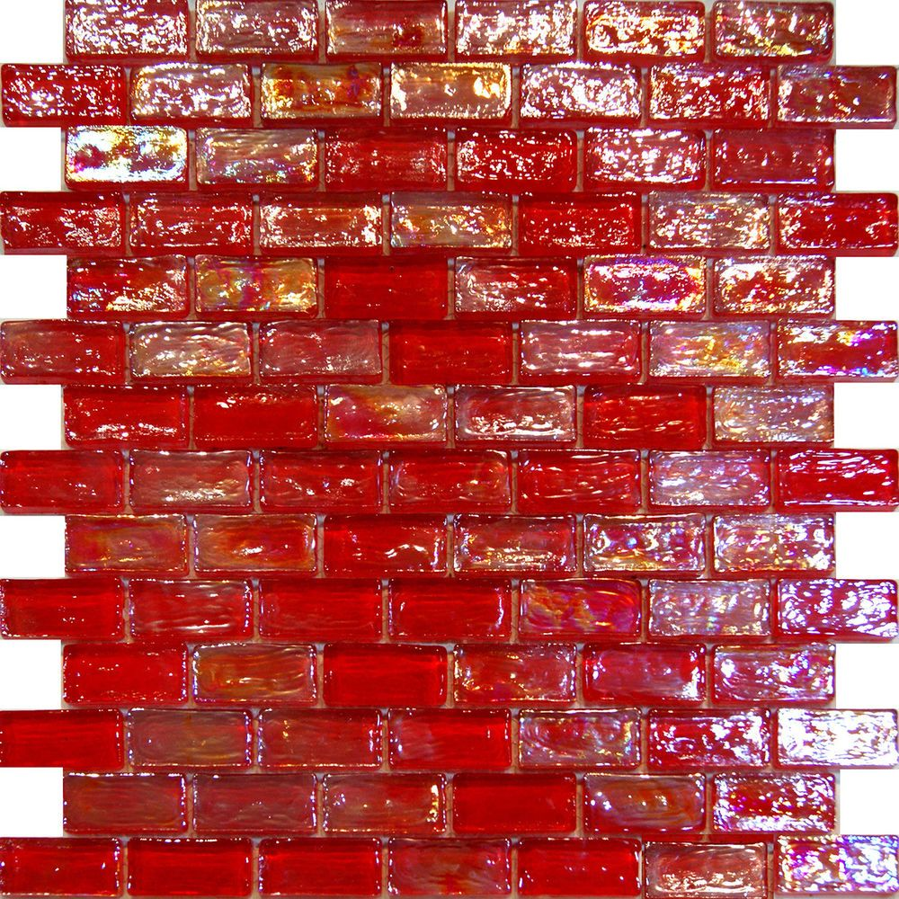 1sf Red Iridescent Subway Glass Mosaic Tile Backsplash Kitchen Spa Floor Pool
