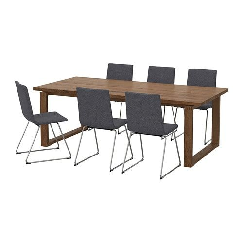 Morbylanga Volfgang Table And 6 Chairs Brown Gunnared Medium Gray 86 5 8x39 3 8 Furniture Table