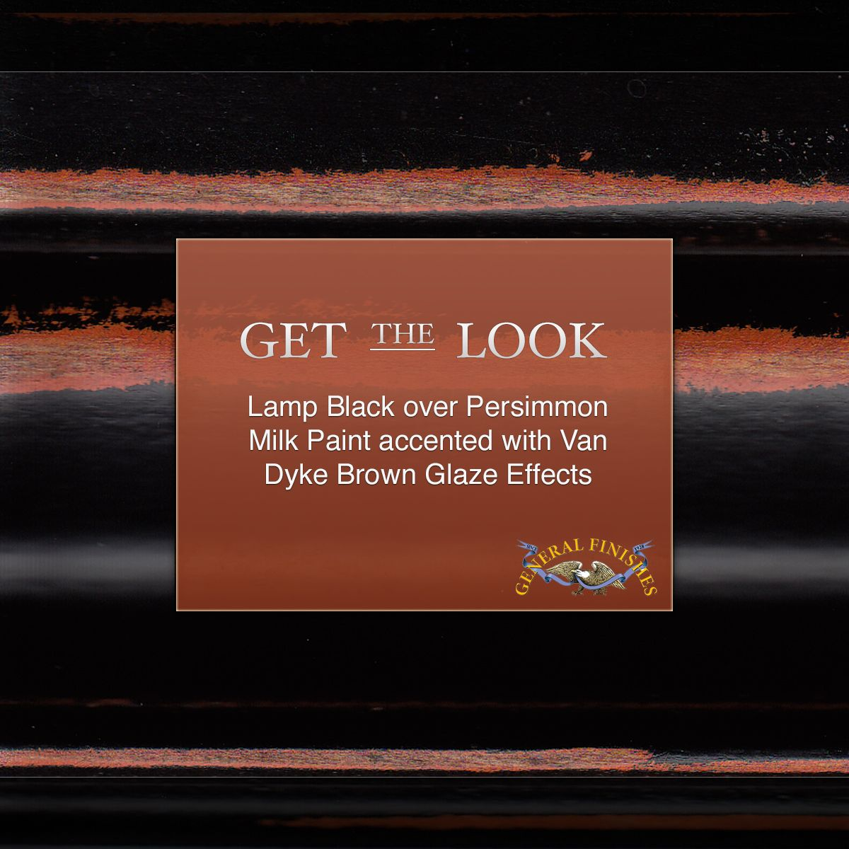 Get this Look with General Finishes Lamp Black over Persimmon Milk Paint…