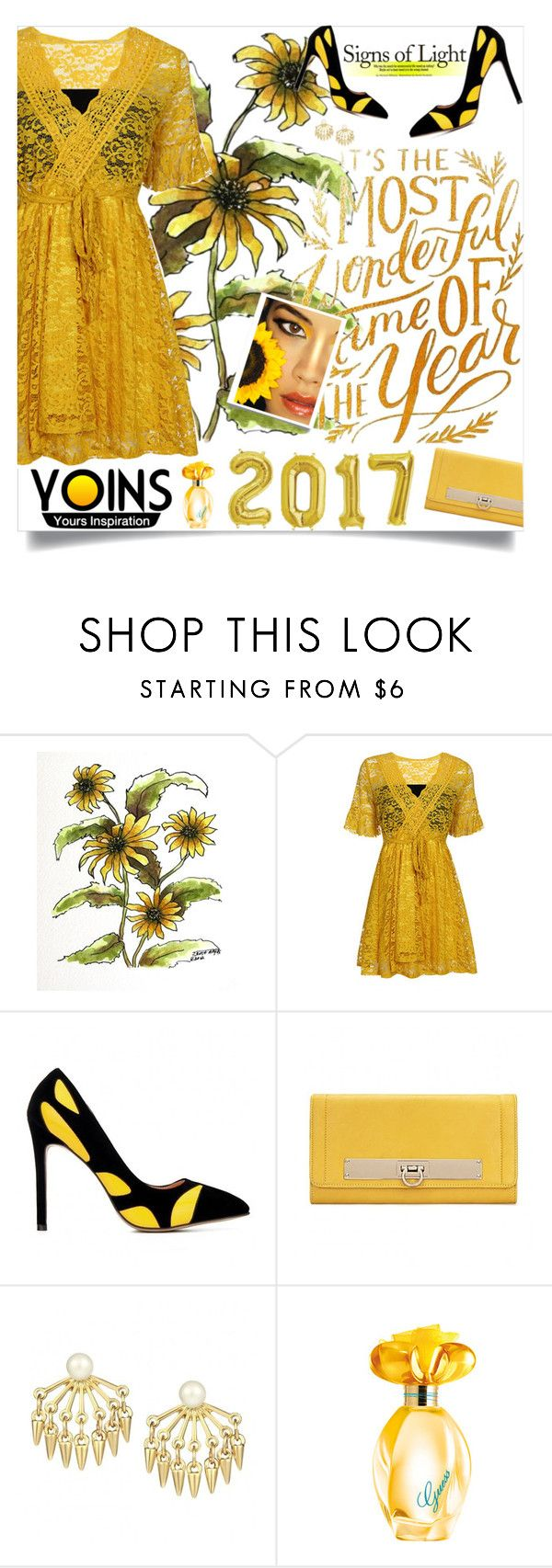 """""""Yoins: Yellow & Lace"""" by loveyoins ❤ liked on Polyvore featuring GUESS"""