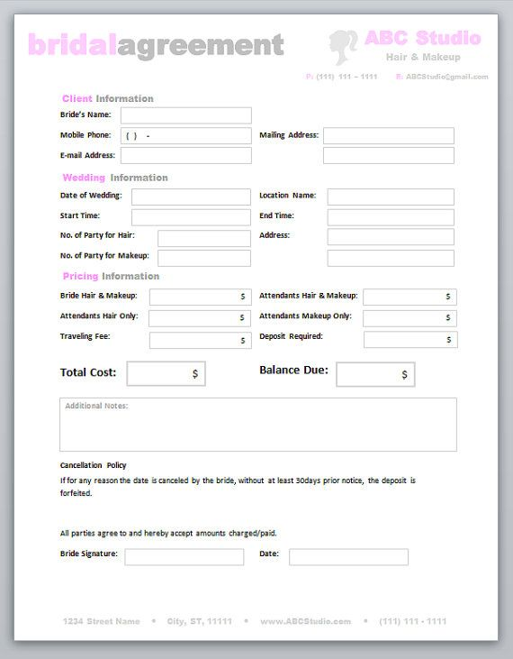 Freelance Hair Stylist \ Makeup Artist Bridal Agreement Contract - sample price list