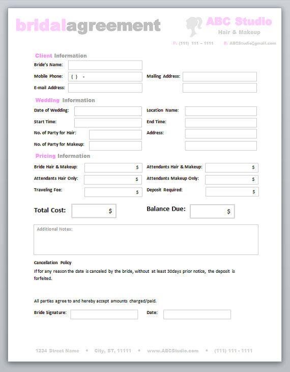freelance hair stylist makeup artist bridal agreement contract template editable printable word document 10