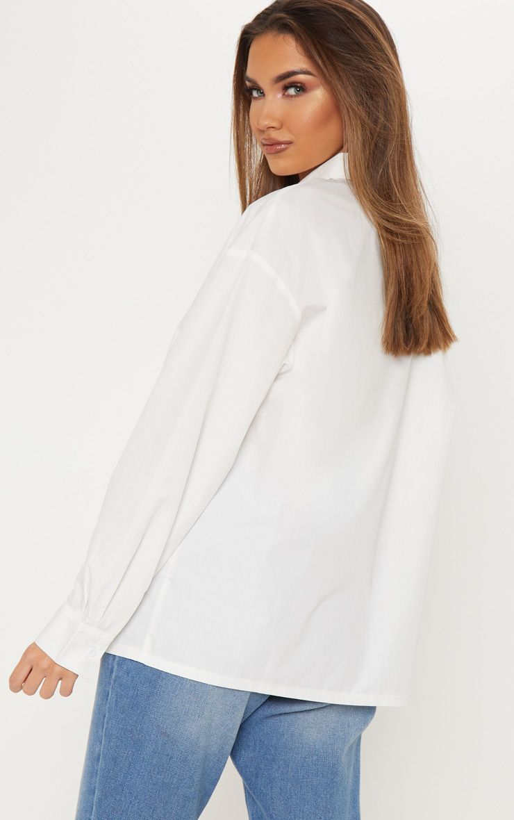 cd949bc40 White Button Cotton Oversized Shirt in 2019