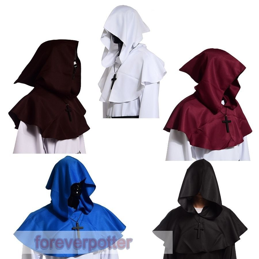 Unisex Medieval Hooded Wicca Pagan Cowl Hood 5 colors Halloween Fancy Costume