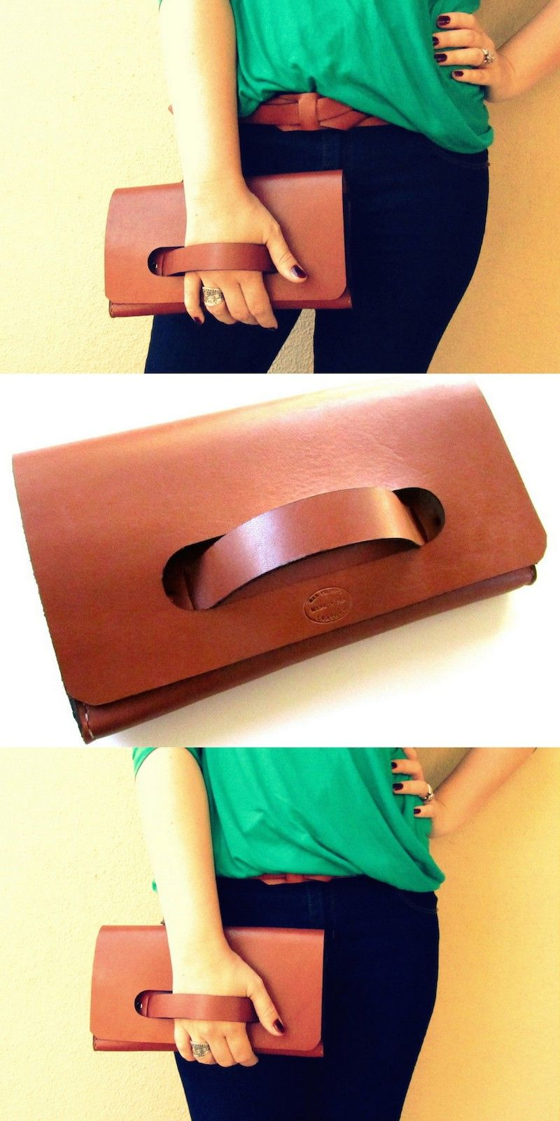 Whiskey Brown Leather Clutch Diy Sac 6960d9496f036