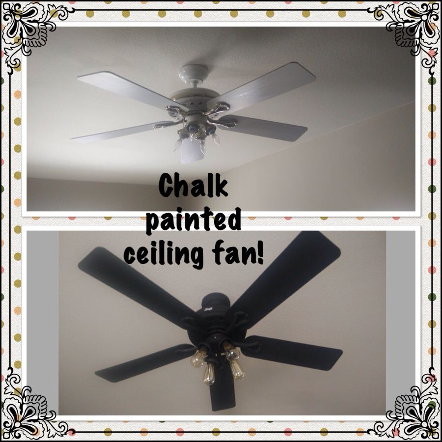 Chalk Painted Ceiling Fan Makeover Didn T Take It Down Easy Project Ceiling Fan Painting Ceiling Fans Ceiling Fan Makeover