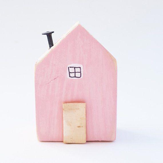Tiny Pink House Figurine Little Houses Wooden Mini Wood Handmade Gift