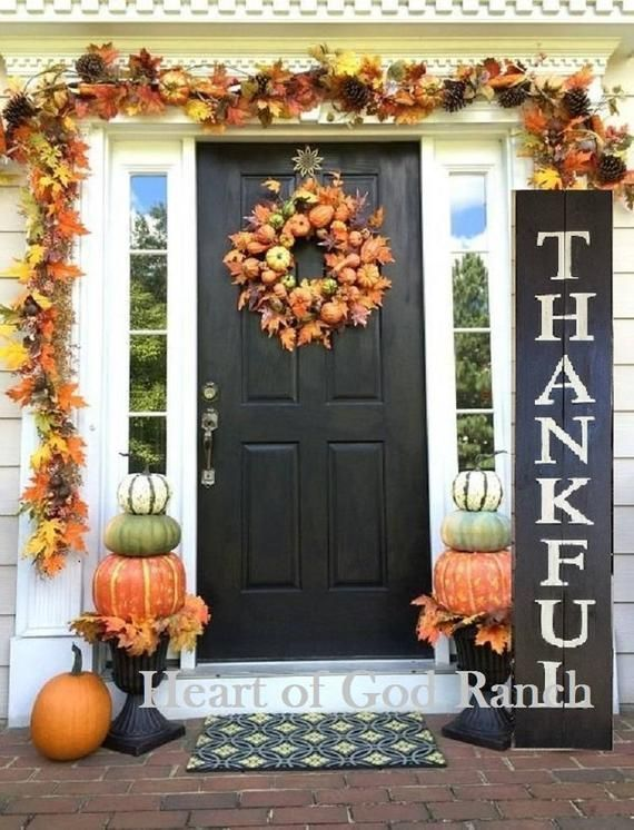Thanksgiving Fall Porch Sign THANKFUL XLarge Wood ~ Customizable Hand Painted