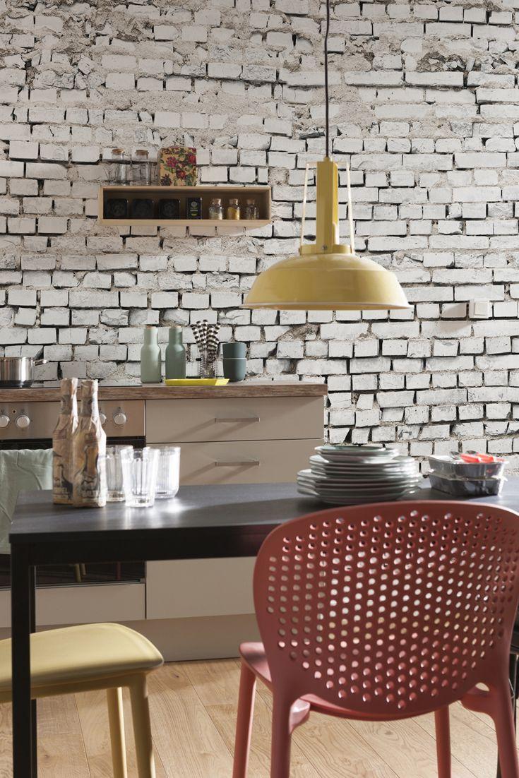 Fototapete White Brick Von Komar Aus Der Kollektion Komar Vol 15 Tapete Kuche Weisse Ziegelsteine Kuchentapete
