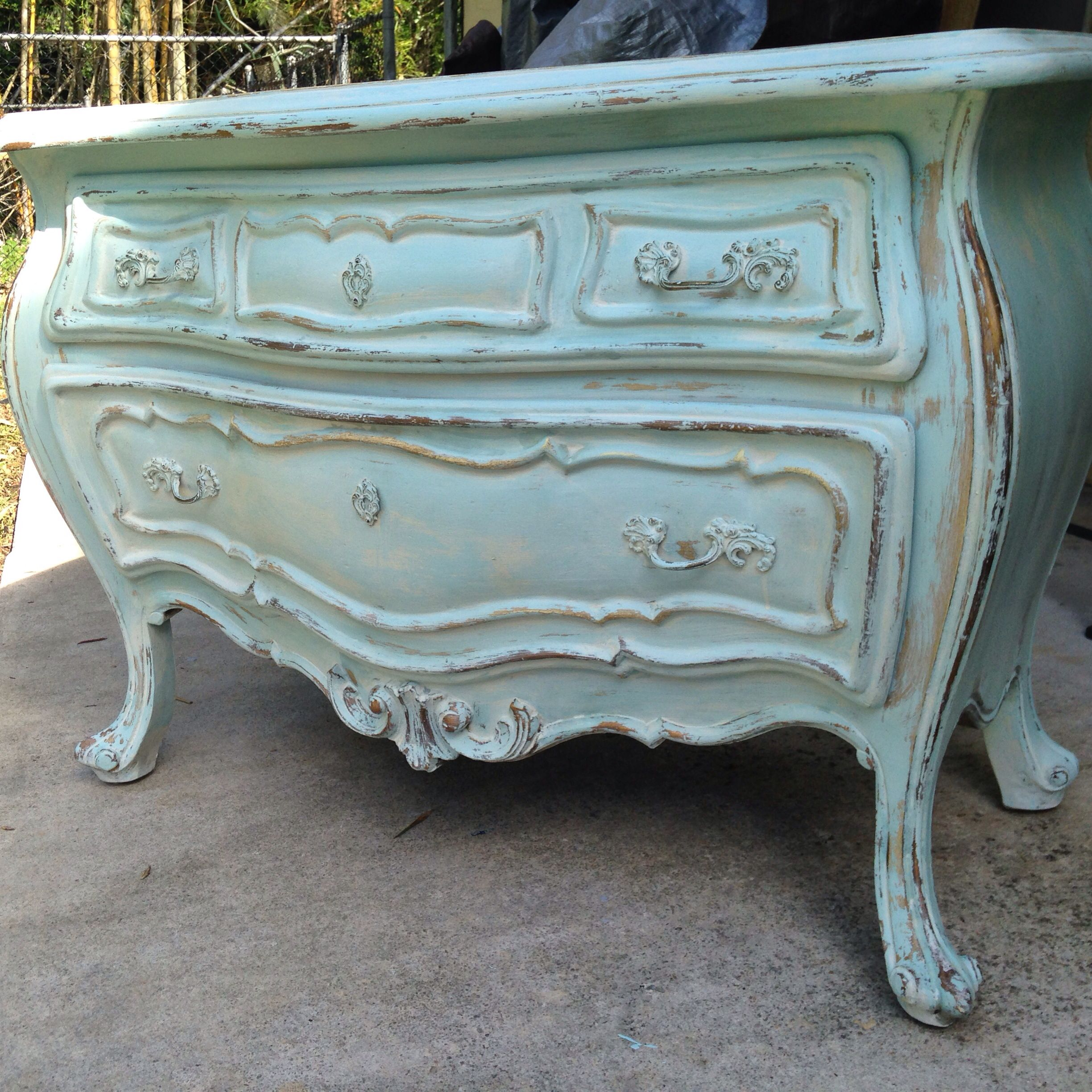 Light turquoise distressed Bombay chest | French painted ...