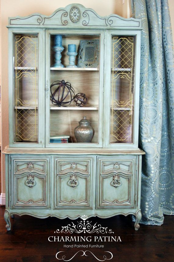 Blue China Cabinet By Charmingpatina On Etsy Www Etsy Com