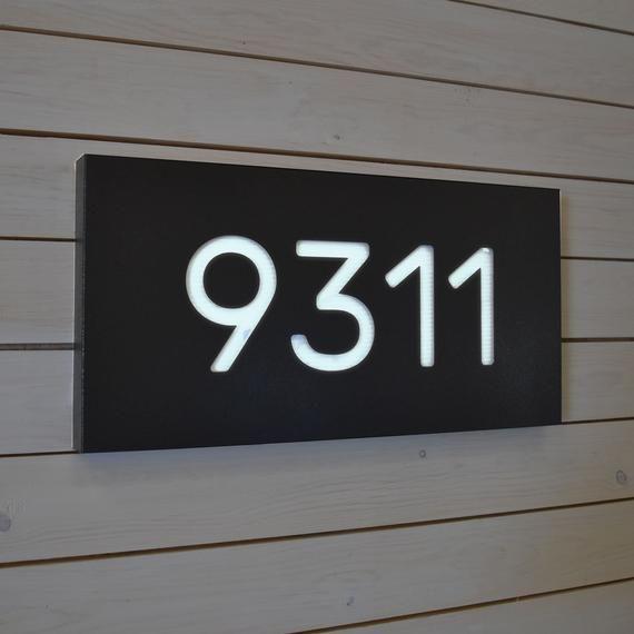 Brushed Copper Engraved Front Lit Led Address Number Sign Led