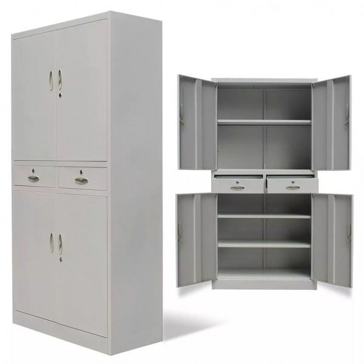 Metal Storage Cabinet Home Office Business Commercial 2 Drawers 4 Doors Locking Unbranded