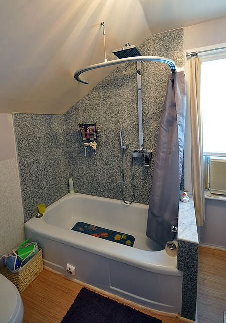 Kvartal Shower Curtain For Dormered Bathroom Sloped Ceiling