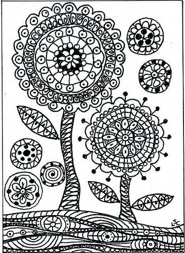 Zentangled Flowers Trees Gardens Flower Drawing Coloring Pages Colouring Pages