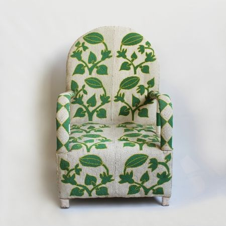 Exceptional hand beaded chief chair from Mali.  Striking green and white melon vine pattern bead details conner front and back.  Matching pair available.  Each chair sold individually.