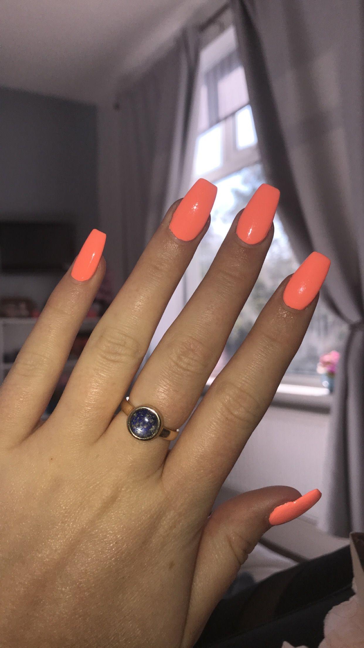 Short Orange Peach Coffin Acrylic Nails Acrylicnails Acrylic