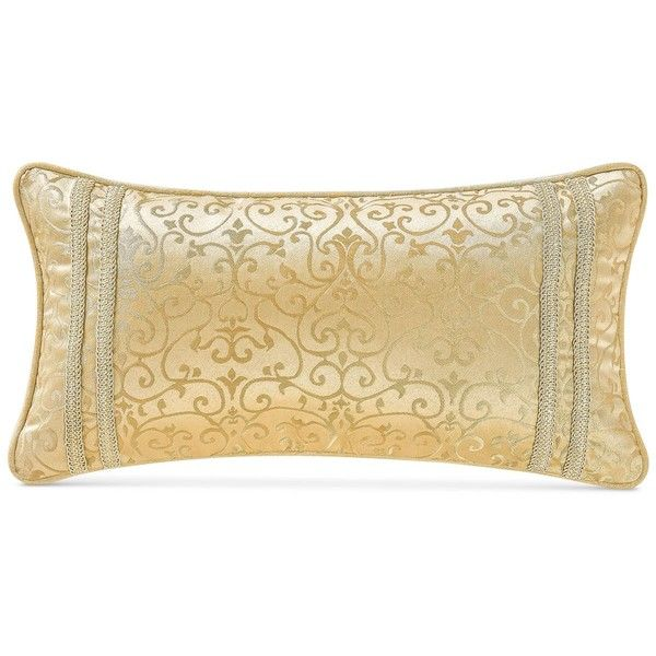 """Waterford Juliette Ivory 11"""" x 22"""" Decorative Pillow ($55) ❤ liked on Polyvore featuring home, home decor, throw pillows, ivory, off white throw pillows, cream colored throw pillows, beige throw pillows, waterford and cream throw pillows"""