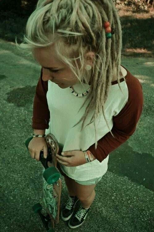 Skater girl with blonde locks