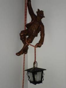 This Lamp Is Amazing Ly Bizarre Vintage Carved Woood Mountain Climber Lamp 230 Lamp Carving Wood