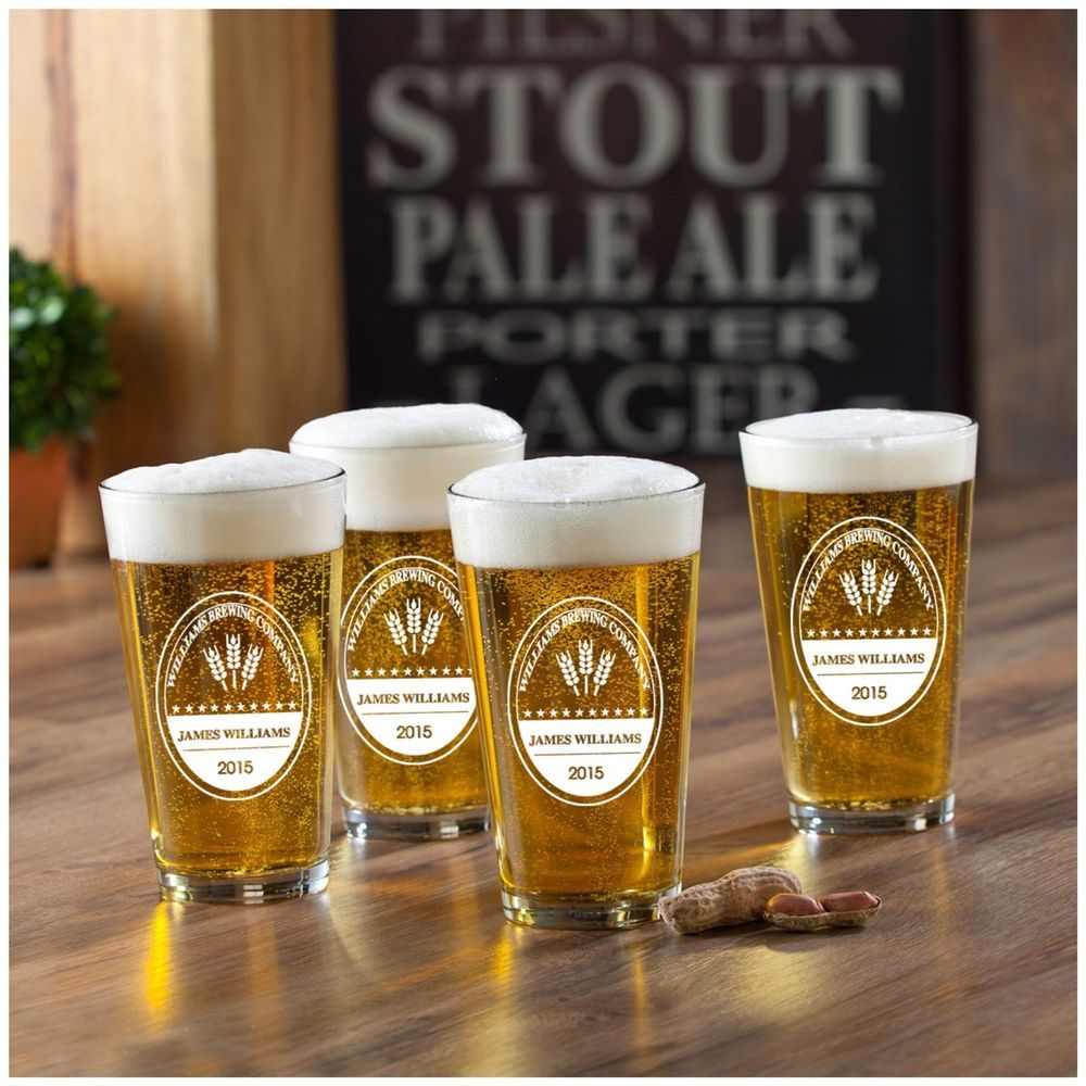 Set of 4 Brewing Company Personalized Pub Beer Glasses