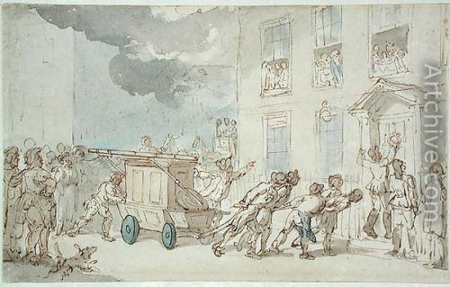 fire arrival of the fire engine rowlandson