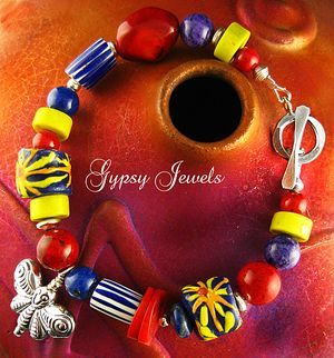 SALE Celebration Bracelet - African beads, Coral, gemstones and Sterling Silver
