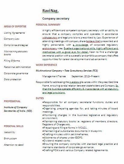 Company Secretary with BCom Degree Experience Resume Format – Secretary Resume Format