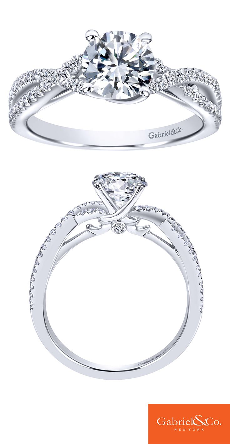 A gorgeous 14k White Gold Diamond Criss Cross Engagement Ring. Discover your perfect engagement ring at Gabriel & Co.
