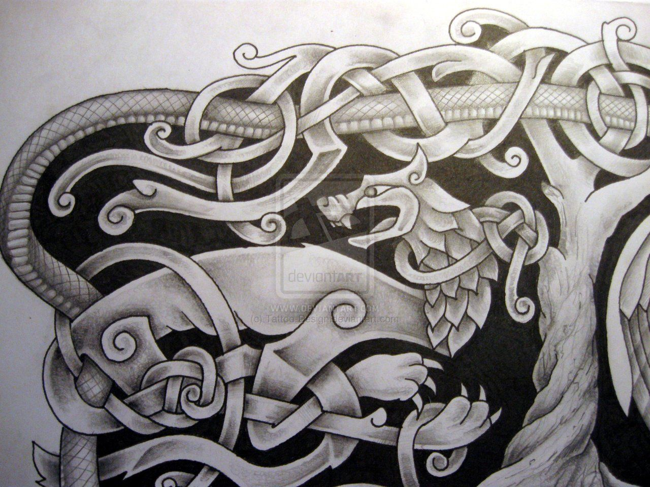 Norse Mythology Tattoo Design Fenrir Detail By Tattoo Design Deviantart Com On Deviantart Mythology Tattoos Norse Mythology Tattoo Norse Tattoo