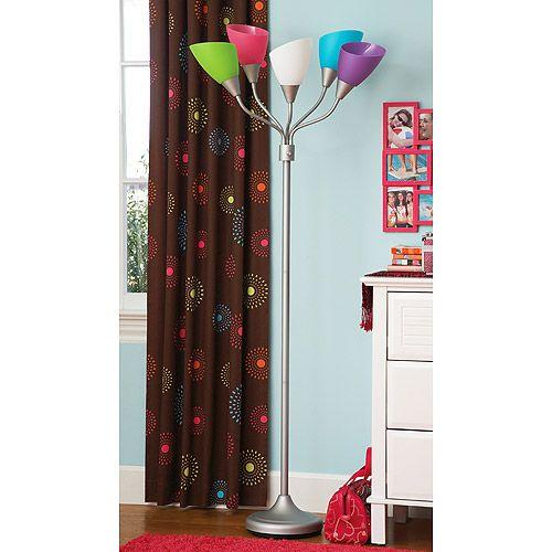 your zone high five floor lamp w/CFL bulb, pink multi: Kids & Teen ...