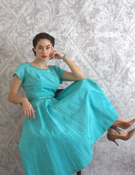 Vintage 1950s Dress 50s Turquoise Beaded Party Cocktail Full Skirt Dress Womens Size Medium