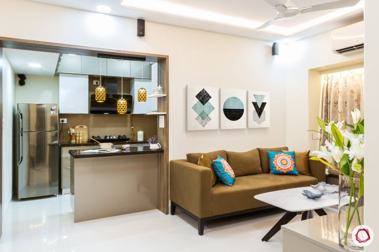 Clever Compact Home For Mumbaikars Open Kitchen And Living Room Small Flat Interior Indian Living Rooms