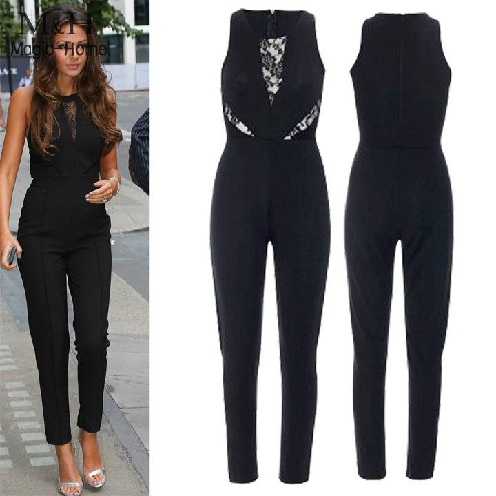 Sexy Women Jumpsuit Rompers Splicing Jumpsuit Overall Sleeveless Suit  Playsuit Lace Jumpsuit One Piece Long Pants 41-in Jumpsuits   Rompers from  Women s ... cb6f039bf4