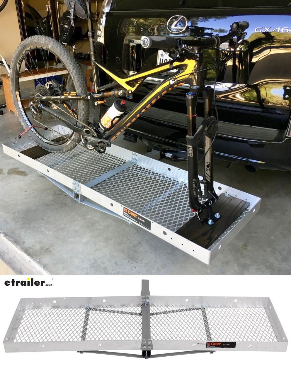 19x60 Curt Cargo Carrier For 2 Hitches Aluminum Folding 500 Lbs Curt Hitch Cargo Carrier C181 Hitch Bike Rack Cargo Carrier Hitch Cargo Carrier