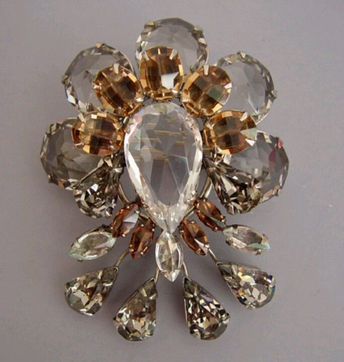 """SCHREINER clear and brown rhinestone brooch with teardrop ends, 2-1/2"""" by 2-1/4"""". View #S32790"""