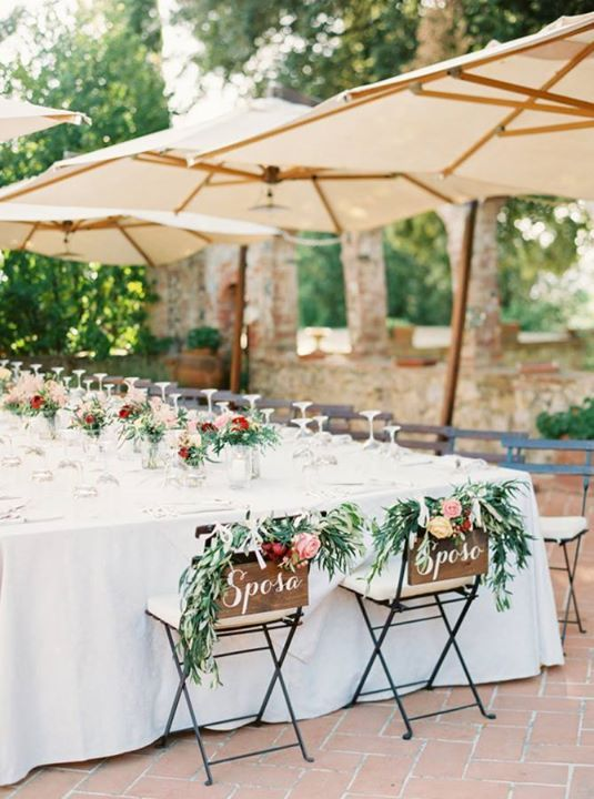 At A Tuscan Or Rustic Chic Italian Themed Wedding Chair Signs With Sposa