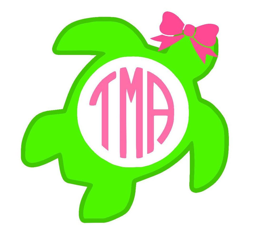 Double layer turtle with monogram and bow vinyl decal double layer turtle with monogram and bow vinyl decal personalize car cute preppy biocorpaavc